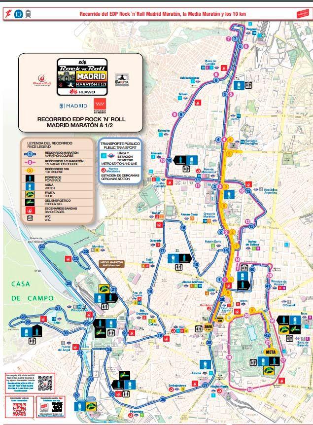 Plano de Metro de Madrid para la Maratón del domingo 23 de abril