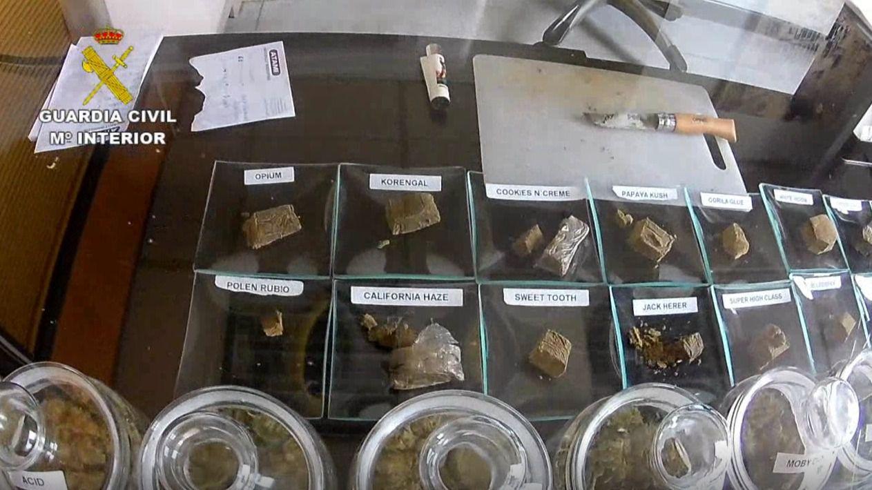 Droga incautada por la Guardia Civil en el registro del local en Zarzalejo
