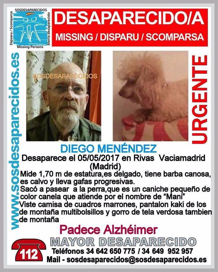 Rivas busca a Diego, enfermo de alzhéimer desaparecido mientras paseaba a su perro
