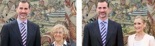 El rey Felipe VI recibe a Cristina Cifuentes y Manuela Carmena