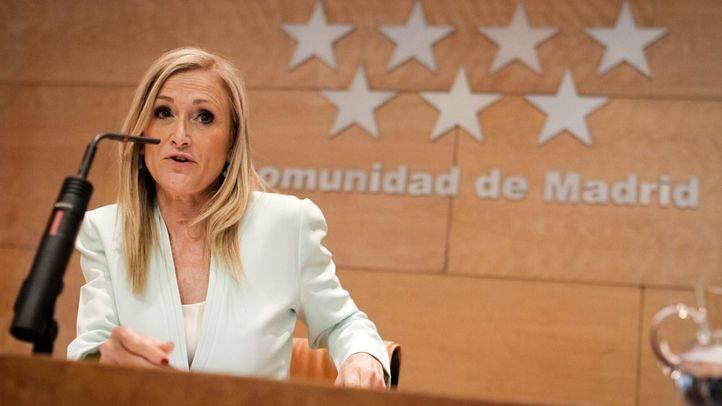 Cristina Cifuentes durante una rueda de prensa.