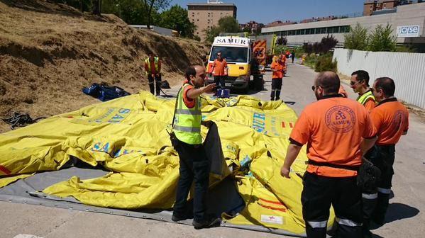 Más de 200 efectivos participan en un simulacro de accidente químico en Madrid