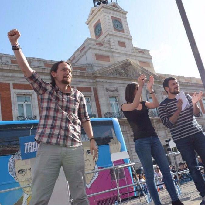 Pablo Iglesias, Irene Montero, Ramón Espinar, Lorena Ruiz-Huertas y Jesús Montero en la Puerta del Sol.