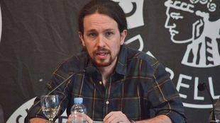 Pablo Iglesias en la presentación de Banco del Agua, un plan para el Canal de Isabel II de Podemos Madrid, en el Circulo de Bellas Artes.