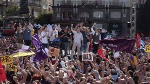 Los portavoces de Unidos Podemos, en Sol