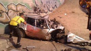 Fallece un hombre en Madrid al chocar su vehículo contra un muro de granito entre la M-40 y la A-1