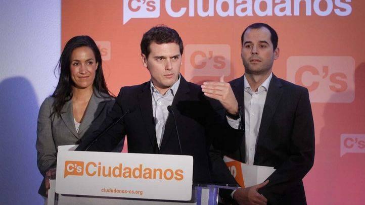 Archivo.Presentación de los candidatos al Ayuntamiento y a la Comunidad de Madrid por Ciudadanos,por parte de Albert Rivera, Begoña Villacís e Ignacio Aguado.