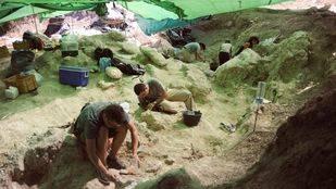 Excavadores trabajando en el yacimiento de Cerro de Batallones