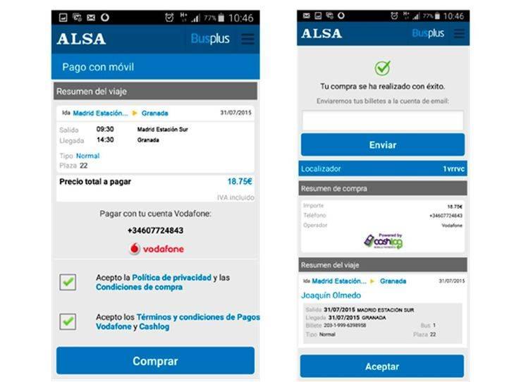 ALSA permite a sus clientes pagar los billetes con cargo a la factura de su operador móvil