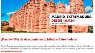Avanza ofrece descuentos de más del 50% para viajar a Extremadura