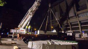 FCC ha trasladado la cabeza de la tuneladora 'La Adelantada' desde sus instalaciones en Arganda hasta el Santiago Bernabeu para participar en la Semana de la Ingeniería.