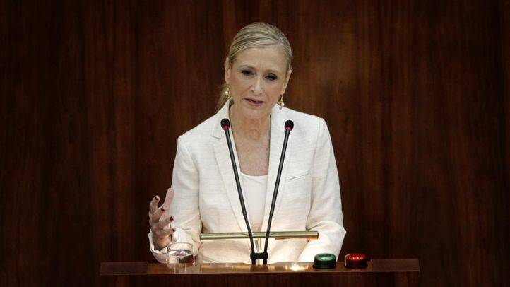 Cristina Cifuentes, presidenta de la Comunidad de Madrid, en la sesión de investidura