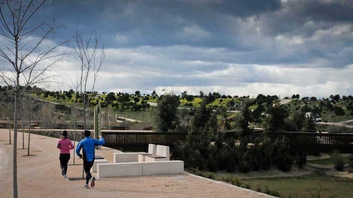 Runners aprovechan la amplias vías del Parque forestal de Valdebebas.