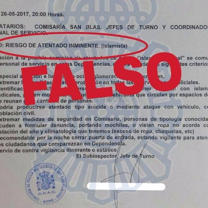 Documento en el que se habla de un riesgo de atentado inminente en Madrid