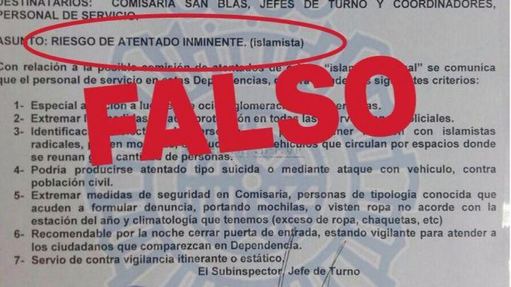 La Policía desautoriza un documento viral de la comisaría de San Blas que habla de