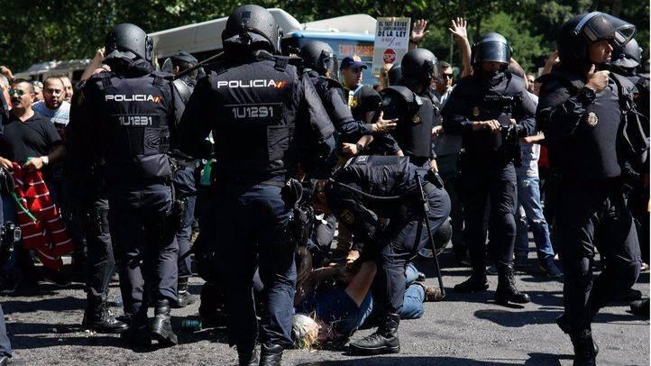 Las protestas de los taxistas en Madrid se saldan con cuatro detenidos