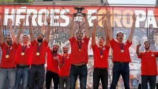 La selección de baloncesto celebra en Callao su triunfo europeo
