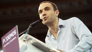 Luis Alegre durante la intervención en la asamblea de Podemos en Vistalegre.