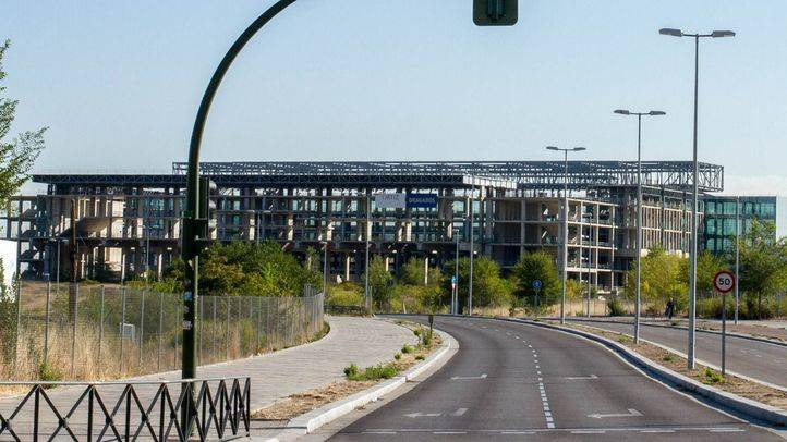 Obras del centro acuático al lado del estadio olímpico de 'La Peineta'.