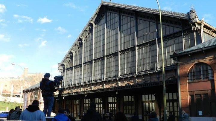 Rodaje de una película en el exterior del Museo del Ferrocarril