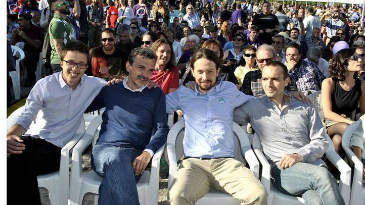 Íñigo Errejón, José Manuel López, Pablo Iglesias y Luis Alegre, en el cierre de campaña de Podemos