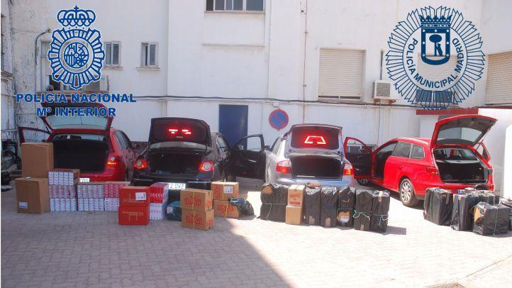 Las más de 60.000 cajetillas incautadas por la Policía Nacional y Municipal de Madrid