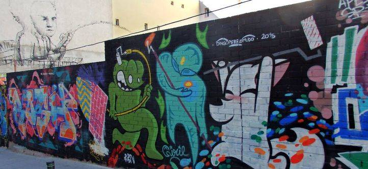Mural en el exterior de la Tabacalera, en Embajadores
