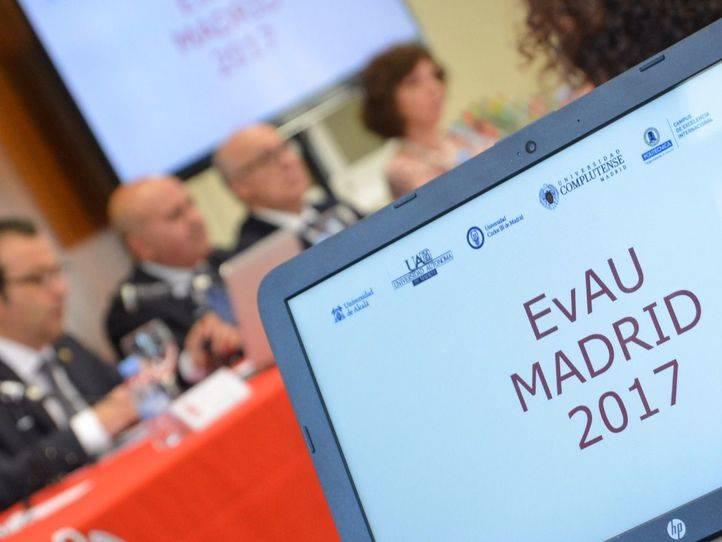 Responsables de las seis universidades públicas de Madrid dan a conocer los resultados de la primera Evaluación de Bachillerato para el Acceso a la Universidad (EBAU), que sustituye a la selectividad.