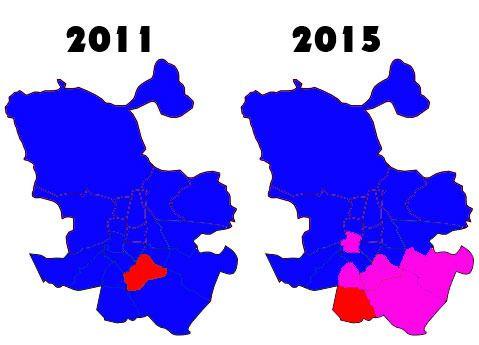 Gráfico electoral en los distritos de Madrid tras las elecciones generales