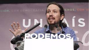 Pablo Iglesias, durante la comparecencia de este lunes.