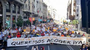 La manifestación prorrefugiados, en Gran Vía