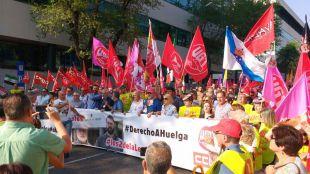 Manifestación contra el juicio a dos piquetes en la huelga general del 29 de marzo de 2012