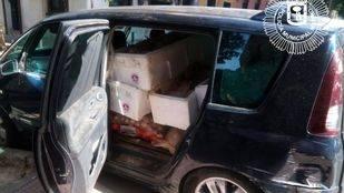Vehículo que transportaba los alimentos