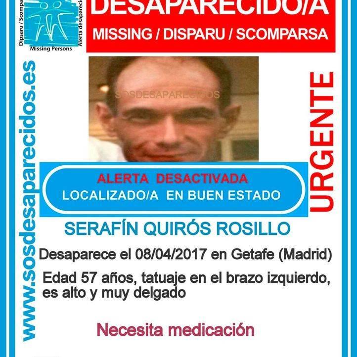 Localizado en buen estado un vecino de Getafe que desapareció en abril