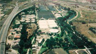 Vista aérea de la depuradora La China en 1990