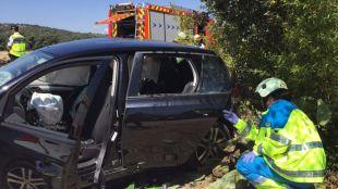 Accidente entre un turismo y una moto en la M-521