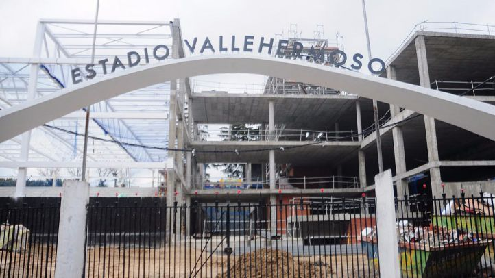 Obras estadio Vallehermoso en 2014.