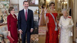 Doña Letizia apuesta por los tonos rojos y azules durante su visita al Reino Unido