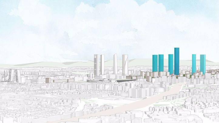 Modelo de ciudad de Distrito Castellana Norte con las nuevas torres.