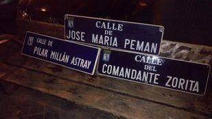 Retiradas algunas placas franquistas de las calles de Madrid como reivindicación