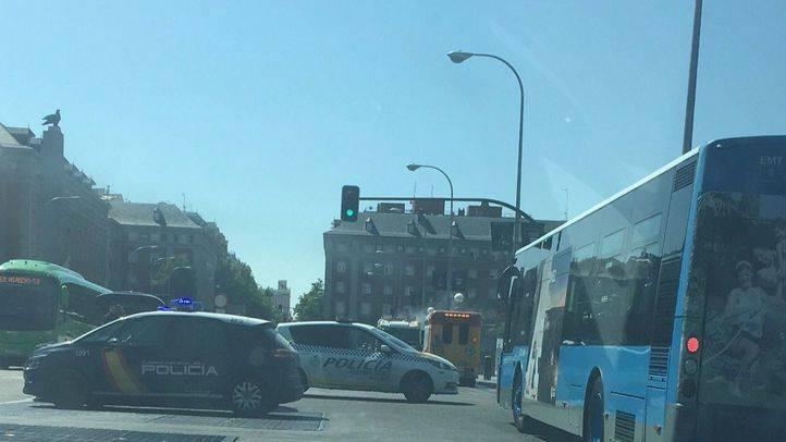 Autobús de la EMT ardiendo