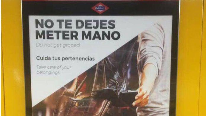 Cartel de la nueva campaña de Metro de Madrid contra los carteristas.