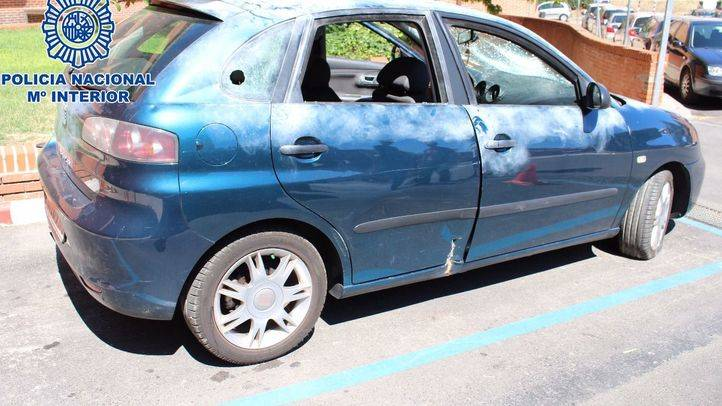 Uno de los coches utilizados en los alunizajes y posteriormente calcinados