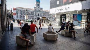 Maceteros instalados en la Puerta del Sol