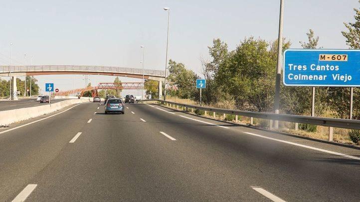 Carretera M607 a su paso por Madrid y en sentido Tres Cantos Colmenar Viejo.