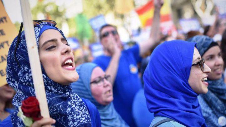 Manifestación contra el terrorismo en Barcelona