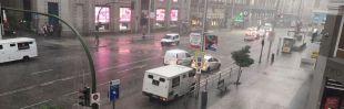 Granizo y lluvias en pleno agosto en Madrid