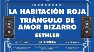 La Habitación Roja, Triángulo de Amor Bizarro y Sethler actuarán en un concierto solidario el 6 de octubre