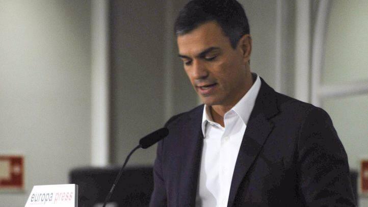 Pedro Sánchez, durante su intervención en el desayuno informativo de EP.