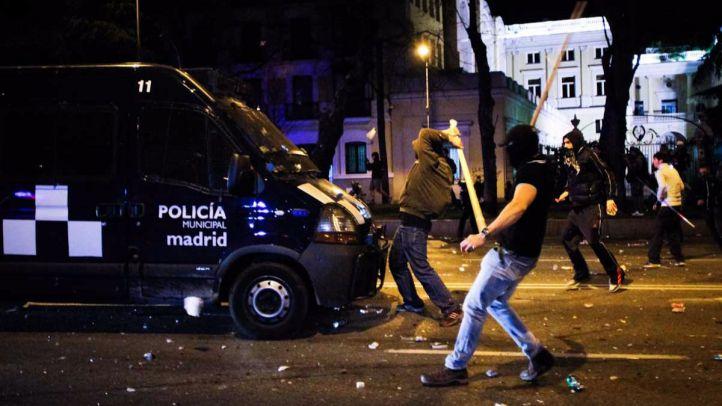 Disturbios entre manifestantes y Policía después de la manifestación de las Marchas por la Dignidad el 22 de marzo de 2014. Anuario 2014.